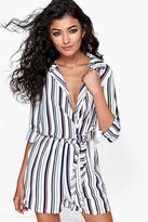 Boohoo Adelle Striped Shirt Style Tie Side Playsuit