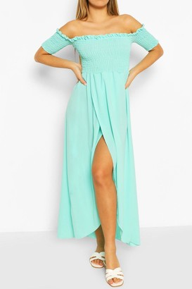 boohoo Shirred Off The Shoulder Maxi Dress