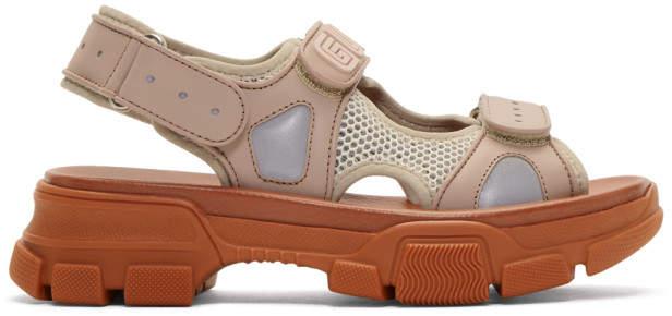 Gucci Pink and Beige Aguru Chunky Sandals