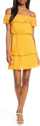 Ali & Jay Head in the Clouds Off the Shoulder Pleated Minidress