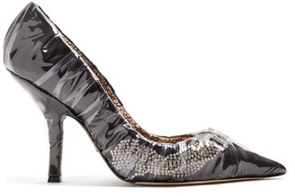 Midnight 00 Iconic Crystal-embellished Satin & Pvc Pumps - Womens - Black