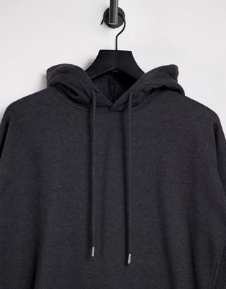 New Look longline hoodie in mid grey