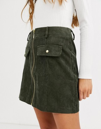 QED London zip front cord mini skirt in khaki