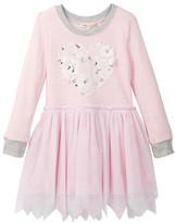 Baby Sara Lace Heart Drop Waist Hankie Mesh Bottom Dress (Toddler & Little Girls)