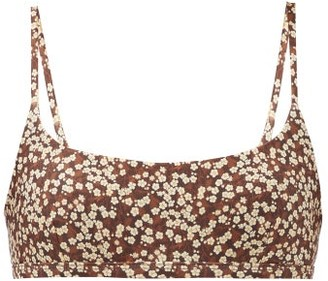 Matteau The Crop Floral-print Bikini Top - Brown Print