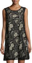 Max Studio Sleeveless Lace Shift Dress, Black Pattern