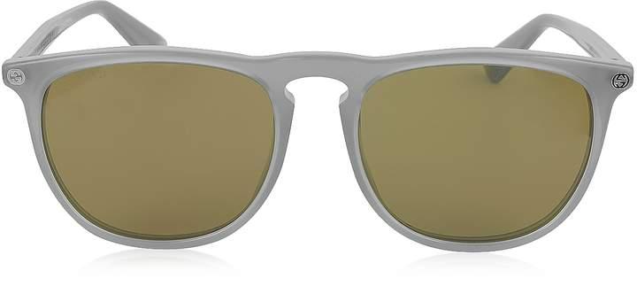 Gucci GG0120S 005 Gray Acetate Rounded Square Men's Sunglasses