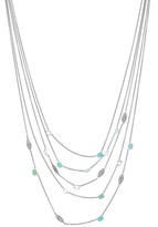 Alexis Bittar Sterling Silver Quartz, Turquoise, Chrysoprase, & Sapphire Station Layer Necklace