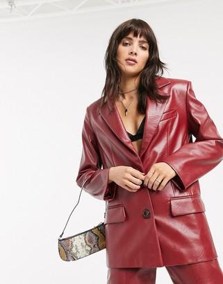 Asos Design DESIGN leather look suit blazer in red