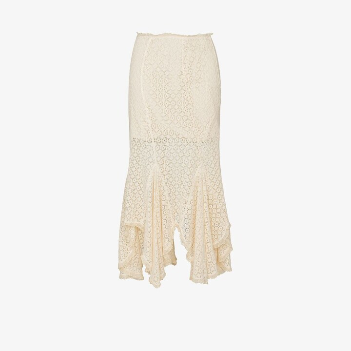 Thumbnail for your product : yuhan wang Neutrals Flared Lace Skirt