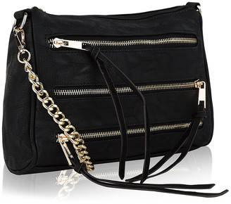 MKF Collection by Mia K. Women's Crossbodies - Black Zipper-Accent Crossbody