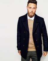 Ted Baker Wool Rich Pea Coat - Blue
