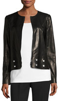 Lafayette 148 New York Glazed Lamb Leather Jacket w/ Grommet Detail, Black, Plus Size