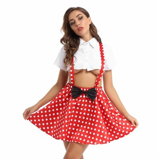 TiaoBug Womens Polka Dots Adjustable Straps Skater Suspender Skirt Overall Mini Dress with Bownot Red S