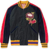Gucci Appliquéd and Embroidered Velvet Bomber Jacket