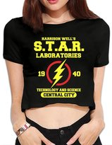 Agongda T-shirts Women's Superhero Movie The-Flash-in-Star-Labs Crop Top Navel T Shirt