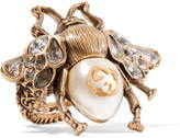 Gucci Burnished Gold-tone, Faux Pearl And Crystal Ring