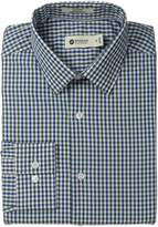 Haggar Men's Gingham Check Point Collar Regular Fit Long Sleeve Dress Shirt
