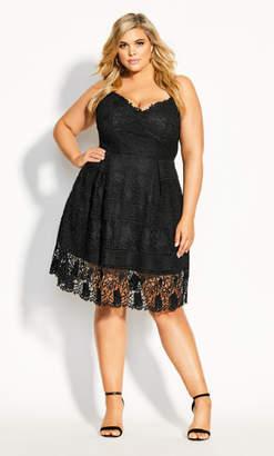 City Chic Lace Passion Dress - black