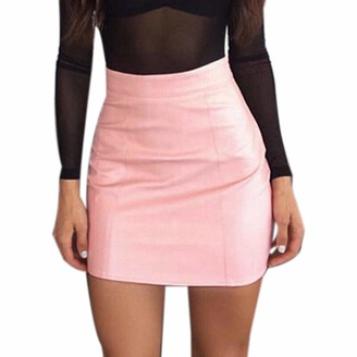 Erthome1 Fashion Women Classic Skirt Mini Pencil Skirt Zipper Solid Tight Fitting Leather Versatile Casual Mini Skirt for Office Work Wear Vintage Dress Pink
