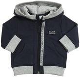 HUGO BOSS Zip Up Cotton Hooded Sweatshirt