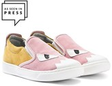Fendi Pink and Yellow Suede Monster Eye Pumps
