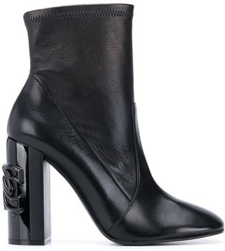 Casadei Chain Link Plaque Ankle Boots