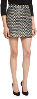 Milly A-Line Chevron Brocade Modern Mini Skirt, Multi