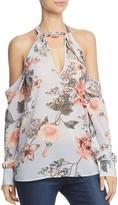 Bardot Cold-Shoulder Floral Print Halter Top