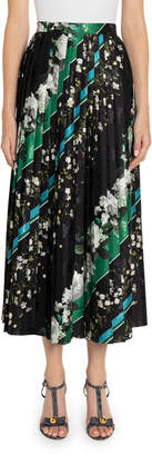 Erdem Nolana Floral & Striped Pleated Maxi Skirt