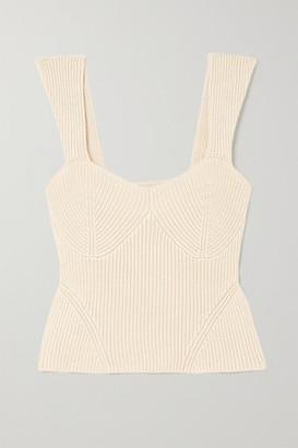 STAUD Kira Ribbed-knit Tank - Beige