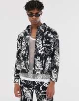 Jaded London denim jacket in Y2K tattoo print in black