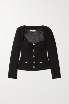 Alessandra Rich Crystal-embellished Wool-blend Tweed Jacket - Black