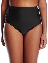 Jessica Simpson Women's Plus-Size Solid Side-Shirred High-Waist Bikini Bottom