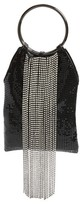 Whiting & Davis Cascade Crystal Fringe Mesh Bracelet Bag - Black