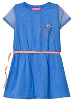 Le Big Eliane Jersey and Mesh Dress Blue Hyacint