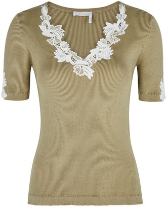 Chloé Olive Lace-trimmed Ribbed-knit Top
