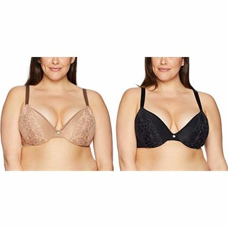 Just My Size Women's Lightweight Curve Enhancing Embellished Plunge Plus Size Bra (MJ1204)