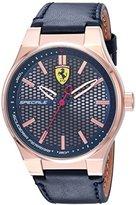 Ferrari Scuderia Men's 'SPECIALE 3H' Quartz Gold and Leather Casual Watch, Color:Blue (Model: 0830416)