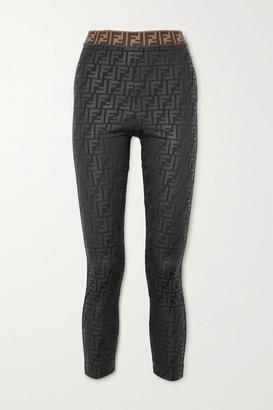 Fendi Glittered Printed Stretch Leggings - Black