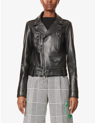Off-White Logo-print leather jacket