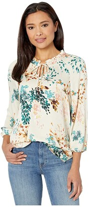 Tribal 3/4 Sleeve Blouse w/ Neck Smoking (Coral) Women's Clothing