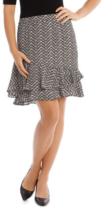 Basque Printed Ruffle Skirt