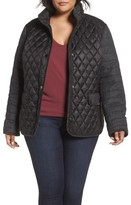 Gallery Plus Size Women's Mixed Media Quilted Jacket
