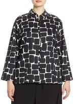 Caroline Rose Rounded Rectangle Pleated Stretch-Cotton Jacket