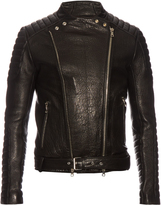 Balmain Biker collarless grained-leather jacket