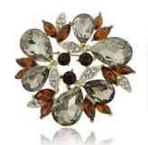 Ever Faith Fancy Wreath Teardrop Gray Austrian Crystal Brooch A13705-3