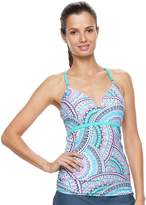 Free Country Women's Bust Enhancer Underwire Mosaic Tankini Top