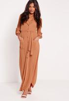 Missguided Wrap Around Maxi Shirt Dress Tan