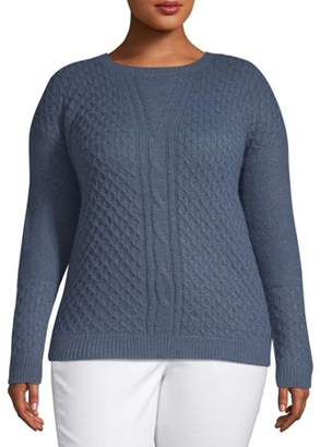Heart & Crush Women's Plus Size Cable Panel Honey Comb Stitch Pullover